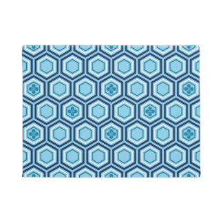 Hexagonal Kimono Print, Navy and Light Blue Doormat