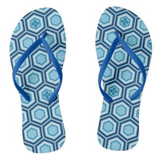 Hexagonal Kimono Print, Navy and Light Blue Thongs