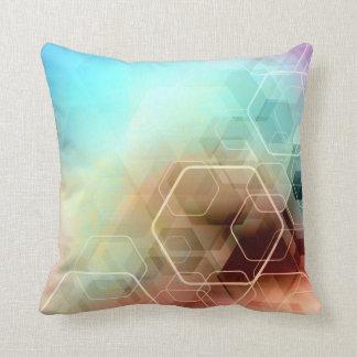 Hexagonal Rainbow Throw Pillow