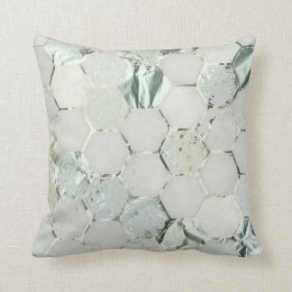 Hexagone Mint Aqua Silver Gray Metal Marble Stone Cushion