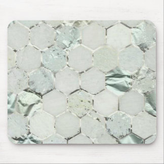 Hexagone Mint Green Aqua Marble Metallic Tiffany Mouse Pad