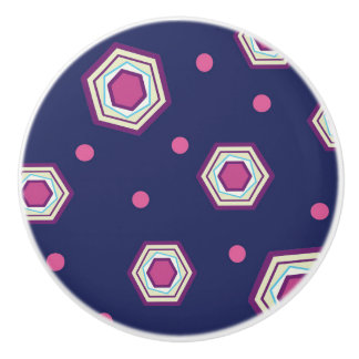 Hexagons Blue Ceramic Pull Knob