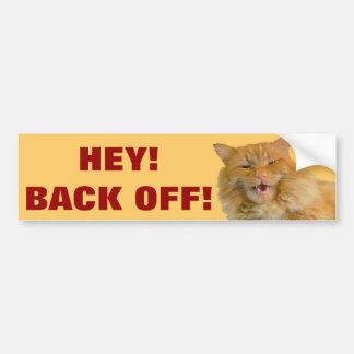Hey! Back Off! With Big Orange Cat Bumper Sticker