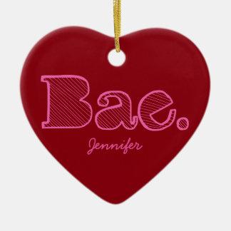 Hey Bae. girlfriend boyfriend slang Double-Sided Heart Ceramic Christmas Ornament