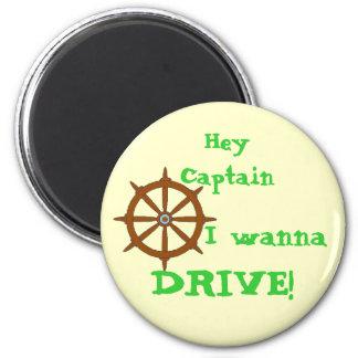 Hey Captain Yellow 6 Cm Round Magnet