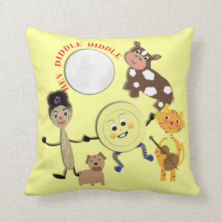 Hey Diddle Diddle Cute Nursery Rhyme Theme Throw Pillow