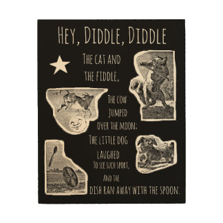 Hey Diddle Diddle Nursery Rhyme Wood Wall Decor