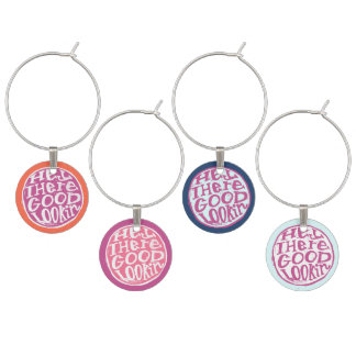 Hey Good Lookin whimsical hand lettering Wine Charm