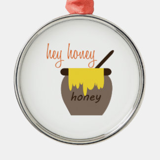 Hey Honey Silver-Colored Round Decoration