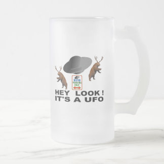 Hey Look!  It's a UFO. Frosted Glass Beer Mug