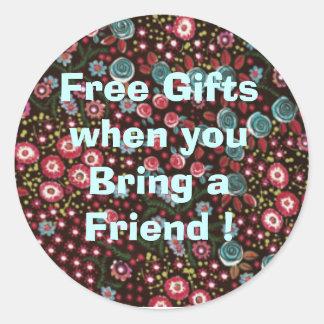 HH387_Blackfloralsateen, Free Gifts when you Br... Round Sticker