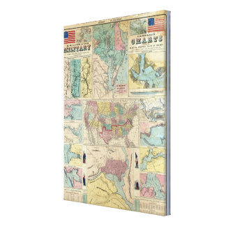 HH Lloyd Campaign Military Charts Stretched Canvas Print
