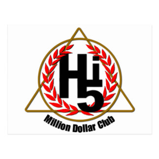 Hi 5 Million Dollar Club Postcard