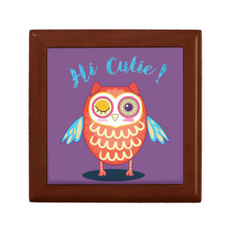 Hi Cutie Orange Blue Owl on Purple Giftbox Gift Box