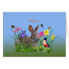Hi, Hello, Flowers, Butterflies, Robin, Rabbit Card
