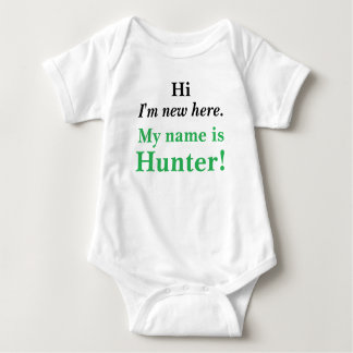 Hi I'm new here! My name is Customizable! Baby Bodysuit