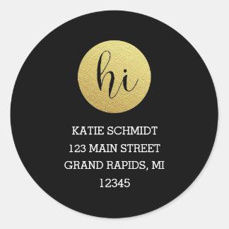 'Hi' in Faux Gold Foil Circle on Black Classic Round Sticker