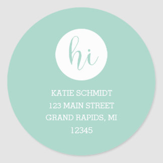 'Hi' in White Circle on Teal Classic Round Sticker