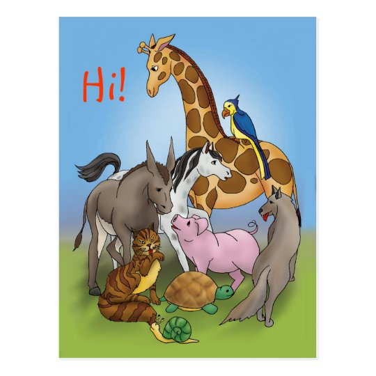 Hi my friends! | Adorable Animals Postcard