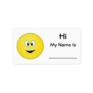 Hi My Name Is, Cross Eyed Smiley Face Address Label