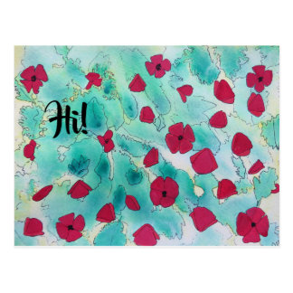 Hi Red Poppies Postcard