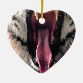Hi-Res Tiger Bearing Jaws Ceramic Ornament