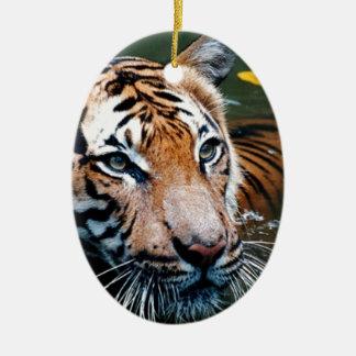Hi-Res Tiger in Water Ceramic Ornament