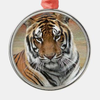 Hi-Res Tigres in Contemplation Metal Ornament
