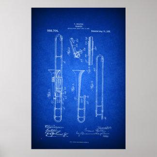 Hi res Trombone Patent art Blueprint style Poster