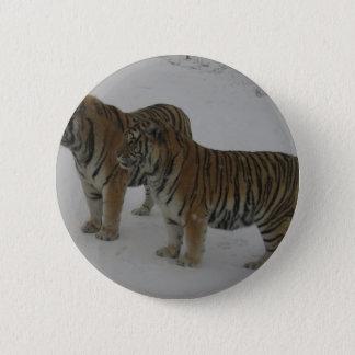 Hi-Res Two Siberian Tigers 6 Cm Round Badge