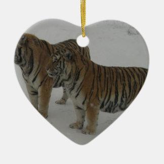 Hi-Res Two Siberian Tigers Ceramic Ornament
