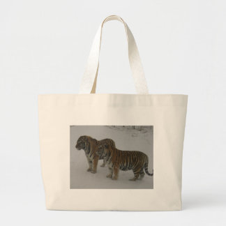 Hi-Res Two Siberian Tigers Large Tote Bag
