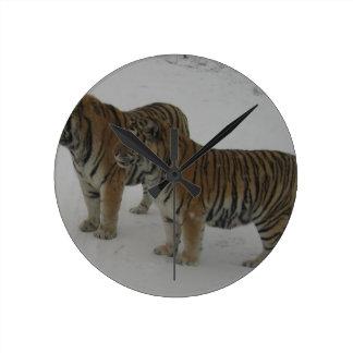 Hi-Res Two Siberian Tigers Round Clock