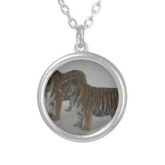 Hi-Res Two Siberian Tigers Silver Plated Necklace