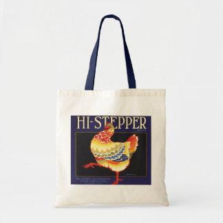 Hi Stepper Chicken Vintage Fruit Crate Label Art Canvas Bag