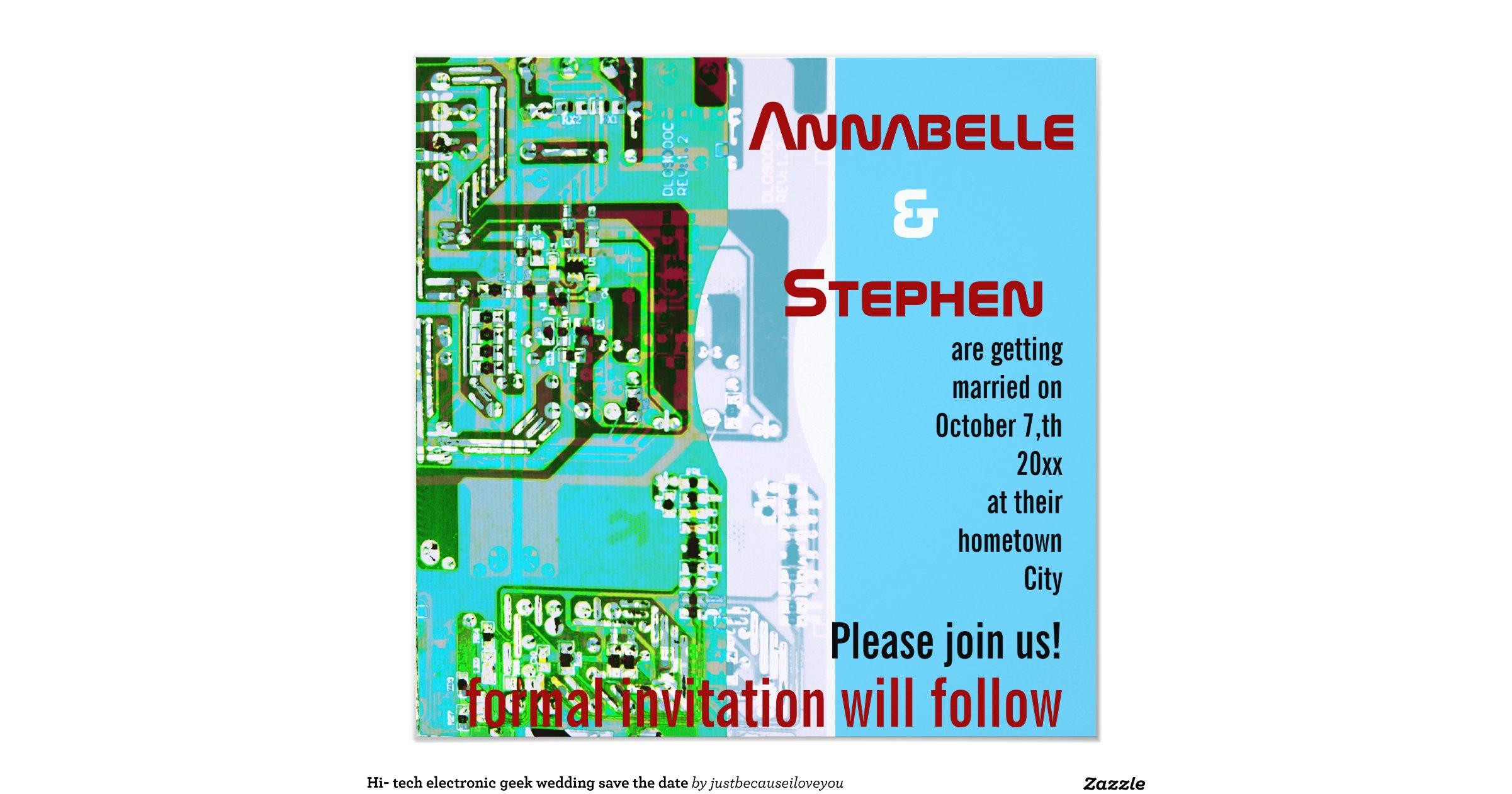 Electronic Wedding Invitation: Hi- Tech Electronic Geek Wedding Save The Date 13 Cm X 13