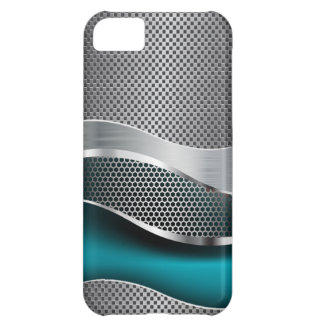 Hi Tech Futuristic Mesh Chrome Peacock Blue iPhone 5C Case