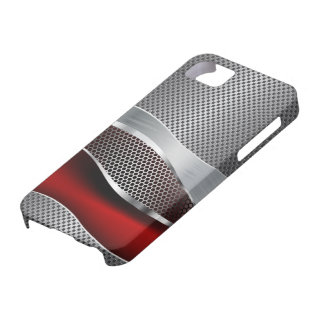Hi Tech Futuristic Mesh Chrome Red iPhone 5 Cases