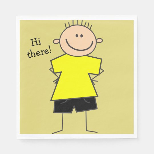 Hi there Cute Smiley Boy Paper Napkins Paper Napkin