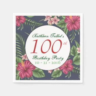 Hibiscus 100th Birthday Party Paper Napkin