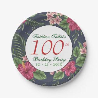 Hibiscus 100th Birthday Party Paper Plate
