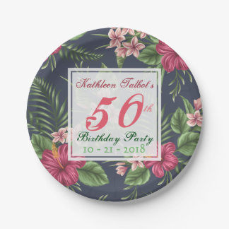 Hibiscus 50th Birthday Party Paper Plate