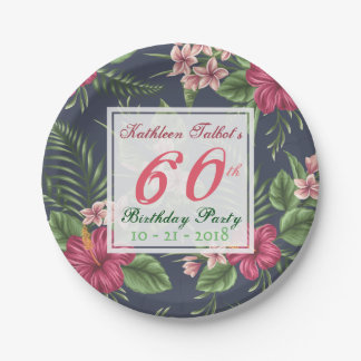 Hibiscus 60th Birthday Party Paper Plate