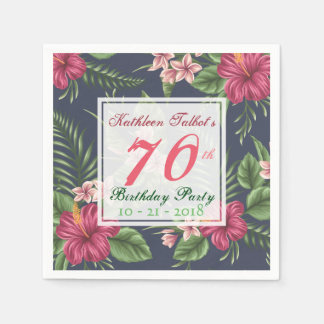 Hibiscus 70th Birthday Party Paper Napkin