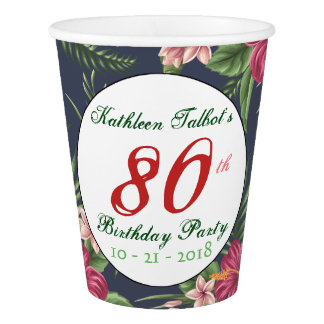 Hibiscus 80th Birthday Party Paper Cup