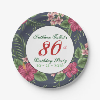 Hibiscus 80th Birthday Party Paper Plate