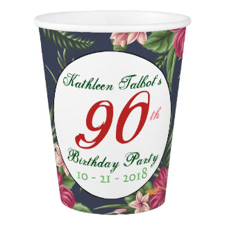 Hibiscus 90th Birthday Party Paper Cup
