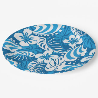 Hibiscus abstract floral paper plate