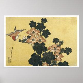 Hibiscus and Sparrow, Hokusai, 1833-34 Poster