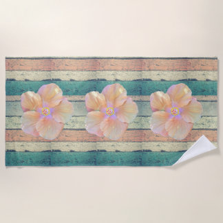 Hibiscus and weathered wood beach towel